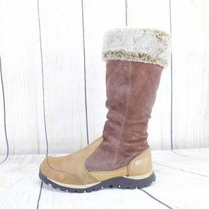 Skechers Tall Winter Faux Fur Trim Boots Size 7